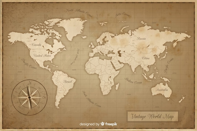 Ancient and vintage world map Premium Vector