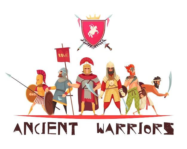 武器とフラグが平らな古代の戦士 無料ベクター