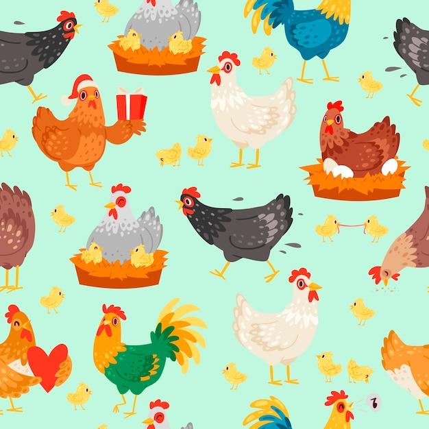 さまざまなポーズの鶏のキャラクター。鶏とandのシームレスなパターンベクトル Premiumベクター