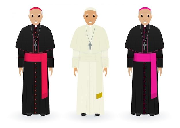 教皇、枢機and、白の特徴的な服の司教。カトリックの司祭。宗教の人々。 Premiumベクター