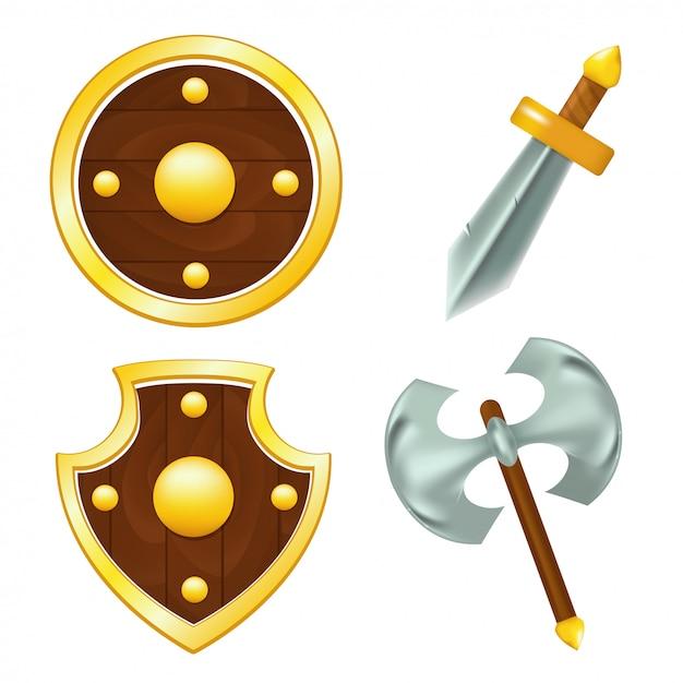 木製シールド、剣とandのセット Premiumベクター