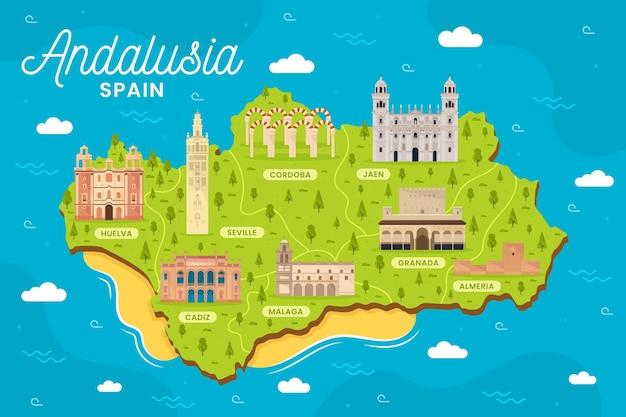 Mappa dell'andalusia con punti di riferimento illustrati Vettore gratuito