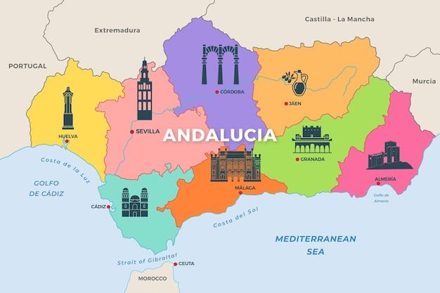 Cartina Dell Andalusia Spagna.Mappa Dell Andalusia Con Punti Di Riferimento Vettore Gratis