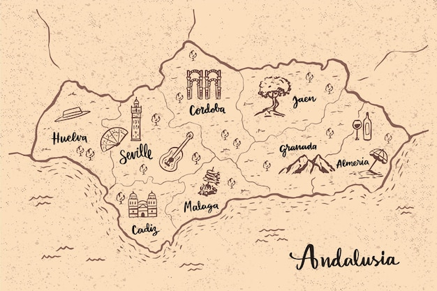 Andalusia map with landmarks Free Vector