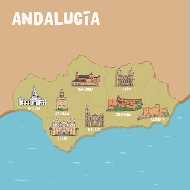 Mappa dell'andalusia con punti di riferimento Vettore gratuito