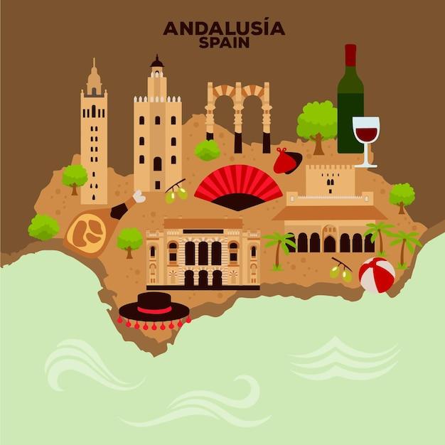 Карта андалусии с достопримечательностями Бесплатные векторы