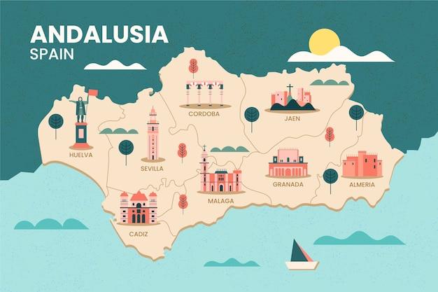 アンダルシアスペイン地図とランドマーク 無料ベクター