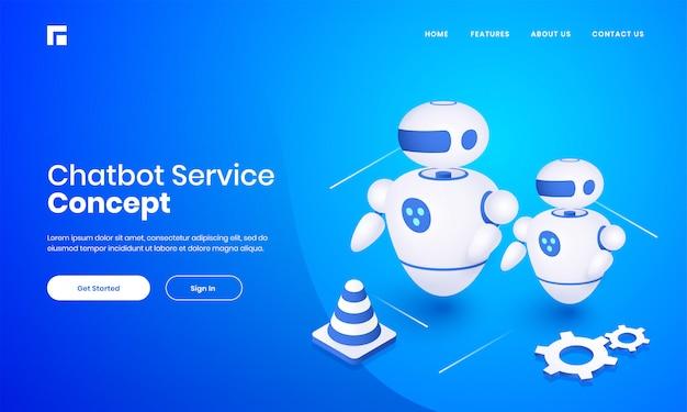 チャットボットサービスコンセプトベースのランディングページデザインの青色の背景にコーンとコグのホイールを持つandroidロボットの3 dイラストレーション。 Premiumベクター