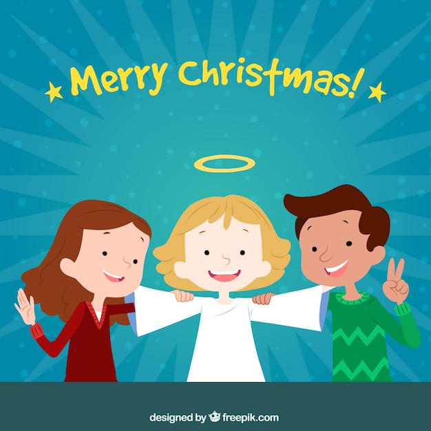 Angel And His Friends Children Vector Free Download