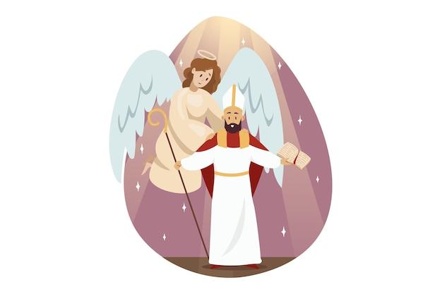 Ангел библейский религиозный персонаж поддерживает держащийся голову святого исидора древнего философа Premium векторы