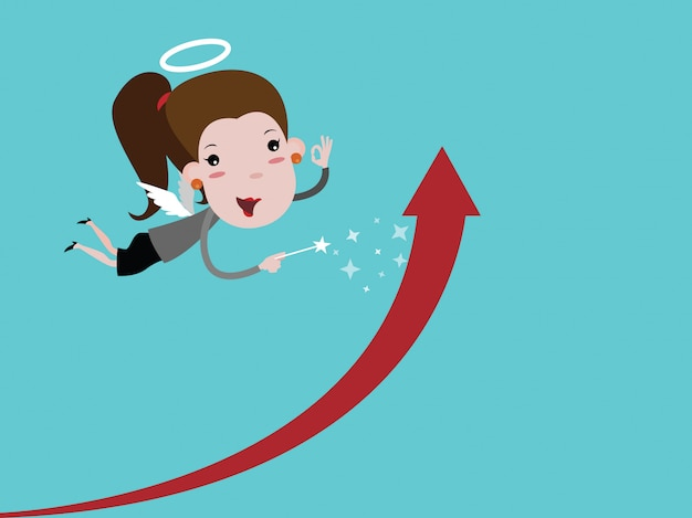 Angel business woman with wings holding a wand  make the
