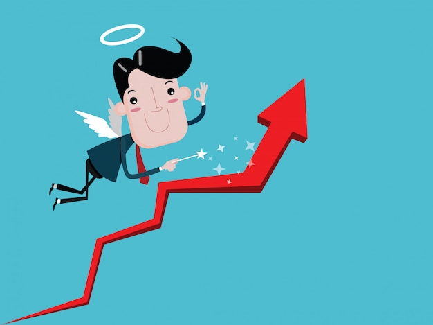Angel businessman with wings holding a wand  make the graph grow