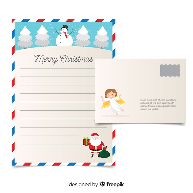 Angel christmas letter template Free Vector