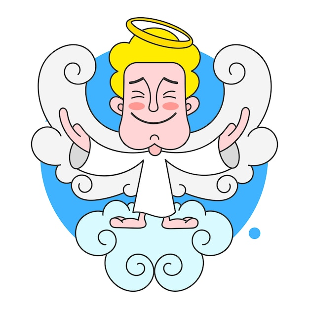 Angel on cloud with halo on head vector Premium Vector