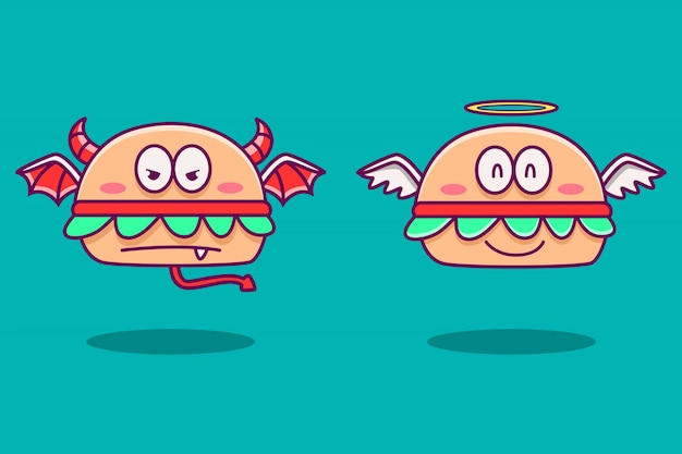 Angel and devil burger cartoon doodle  illustration Premium Vector