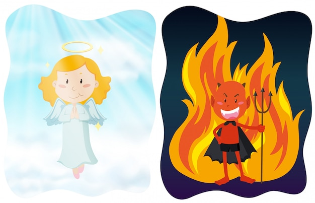 Angel and devil characters Premium Vector