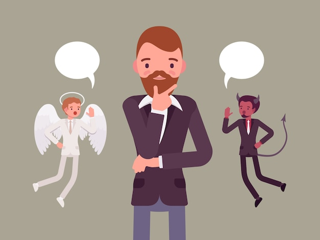 Angel and devil hovering over a thinking man Premium Vector