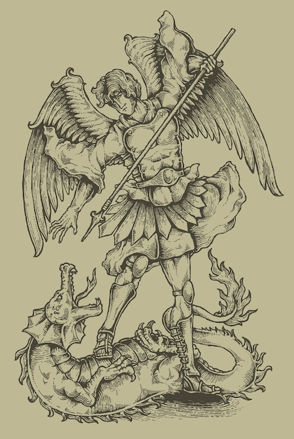 Angel and dragon engraving heraldry coat of arms Premium Vector