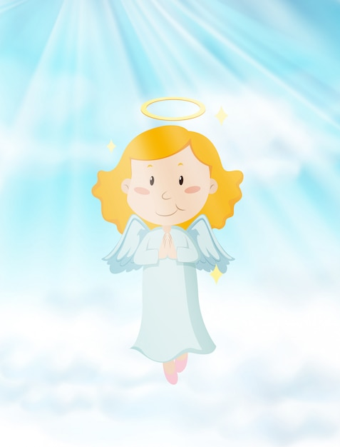 Angel flying in the heaven Free Vector