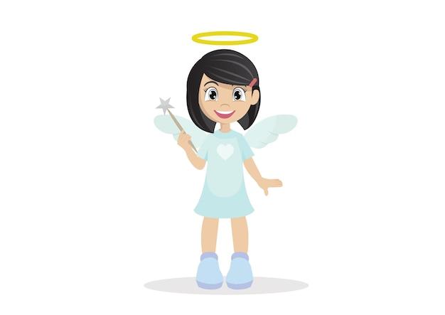 Angel girl. Premium Vector