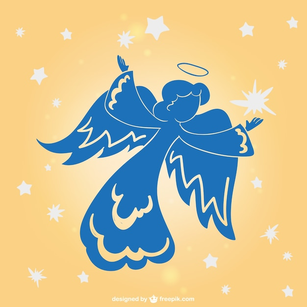 Angel holiday silhouette Free Vector
