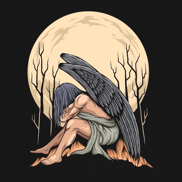 어두운 배경에 천사 그림 프리미엄 벡터