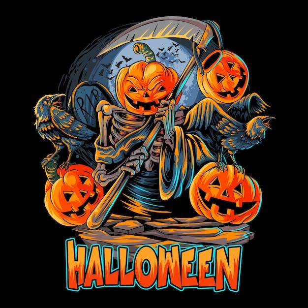 Ангел смерти хэллоуин тыква голова Premium векторы