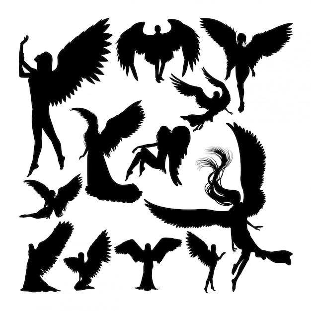 Angel silhouettes Premium Vector