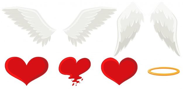 천사의 날개와 하트 무료 벡터