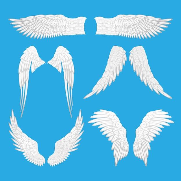 天使の羽のイラスト。天使、ワシの鳥の羽のセットは、編集可能な要素を分離しました。さまざまな形のグラフィック動物の抽象的な翼。タトゥーファンタジーバレンタインデーの装飾。 Premiumベクター