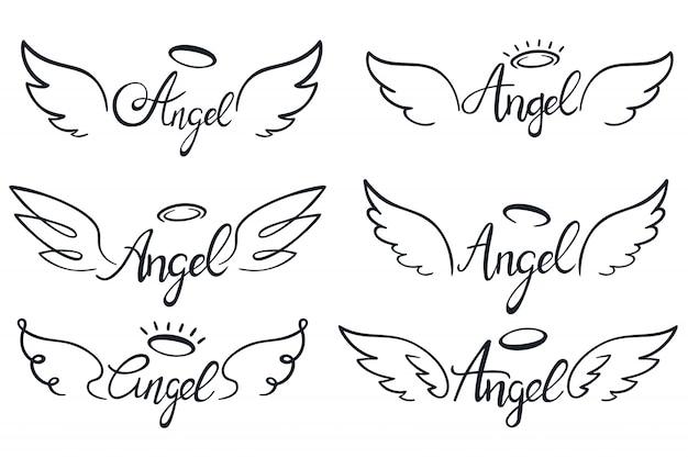 천사 날개 글자. 하늘 날개, 하늘 날개 달린 천사와 거룩한 날개 스케치 벡터 일러스트 레이 션 세트 프리미엄 벡터