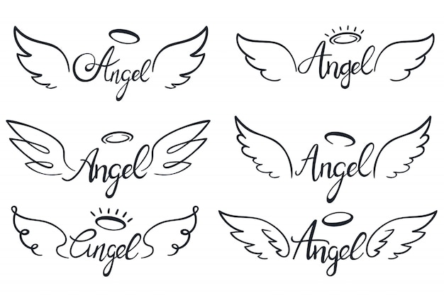 Angel wings lettering. heaven wing, heavenly winged angels and holy wings sketch vector illustration set Premium Vector