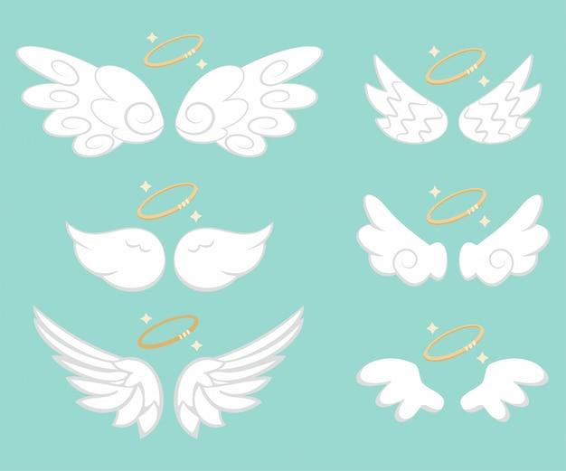 Angel wings with gold nimbus set Premium Vector