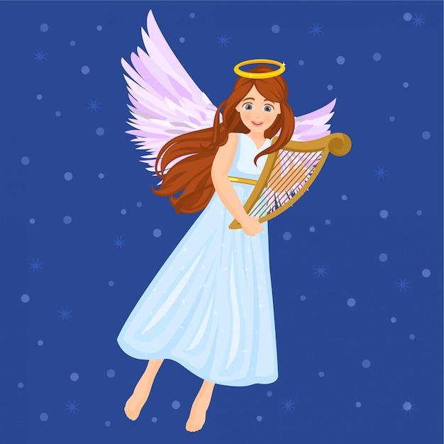 Angel with harp Premium Vector
