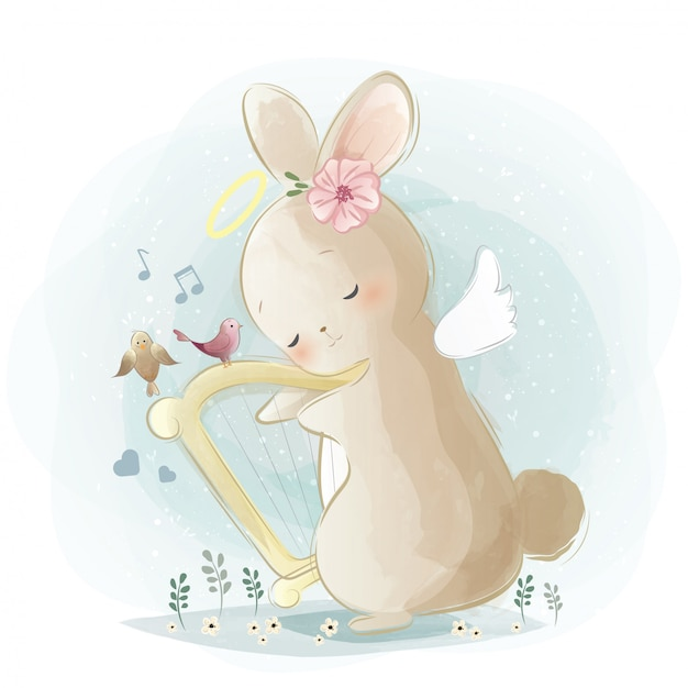 Angelic bunny playing a harp Premium Vector