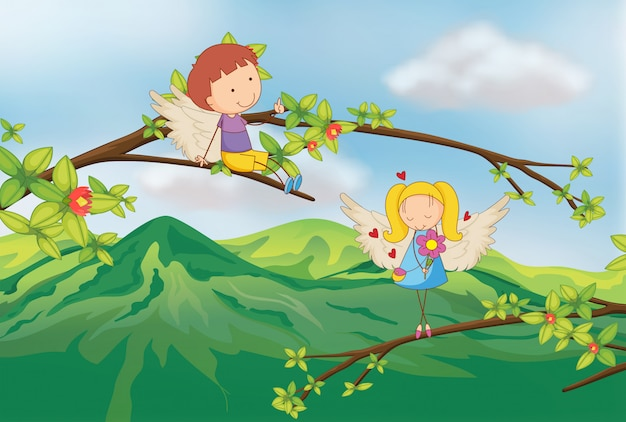 Angels at the branch of a tree Free Vector