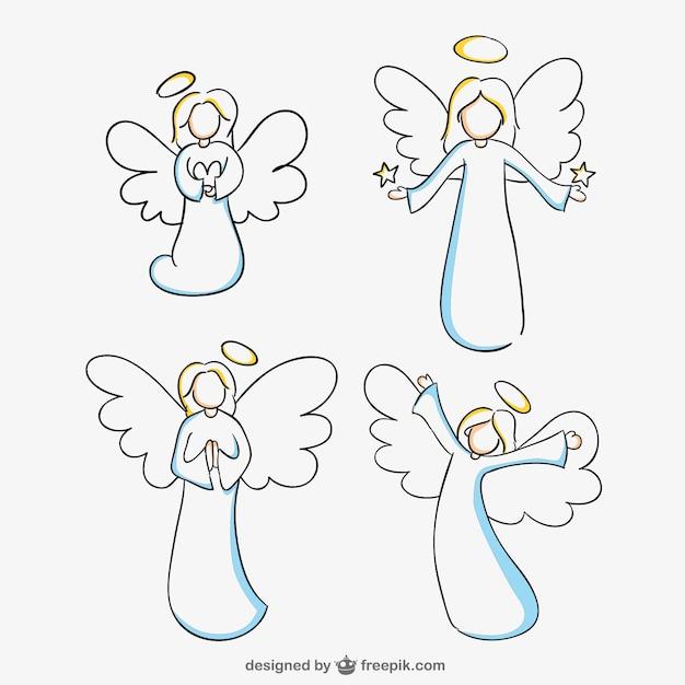 Line Art Editor : Angels line art vector graphics free download