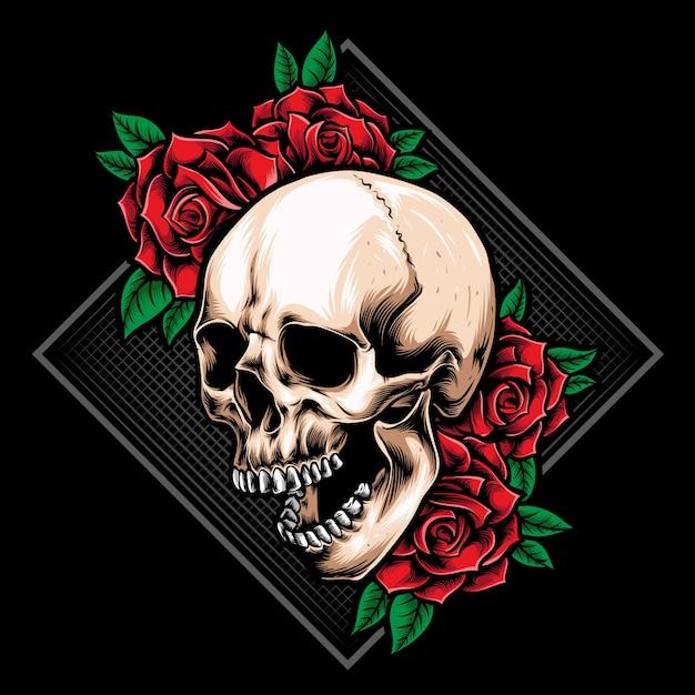 バラのロゴが入った怒りの頭蓋骨 Premiumベクター