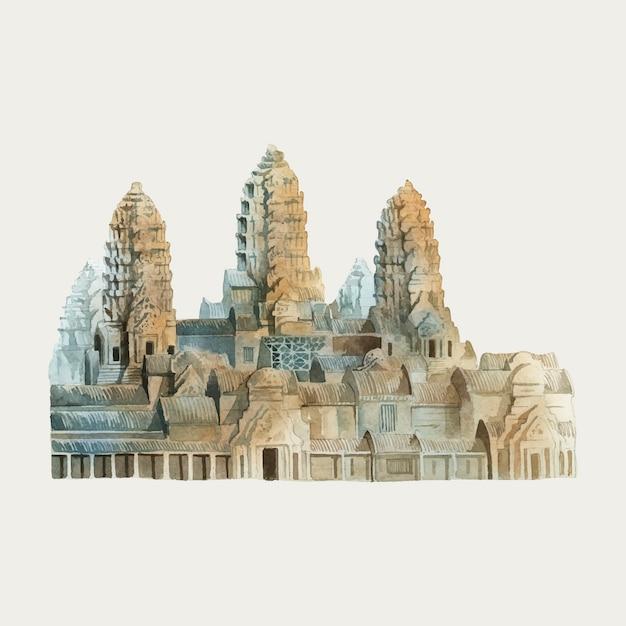 Angkor wat in siem reap watercolor painting Free Vector