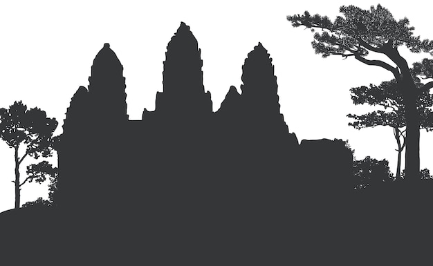 The angkor wat temple silhouette vector design Free Vector