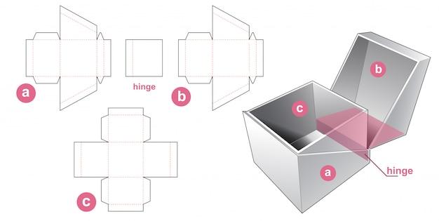 Angled cuff box die cut template design Premium Vector