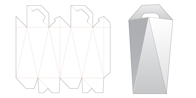 Angled side box with handle die cut template design Premium Vector