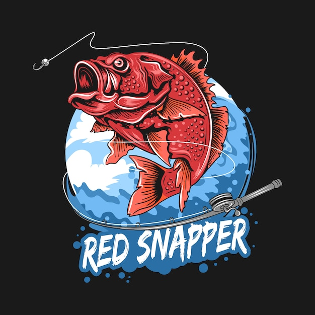 Angler fish red snapper fisherman artwork vector Premium Vector
