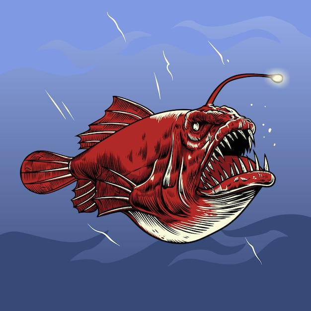 Angler fish vector illustration Premium Vector