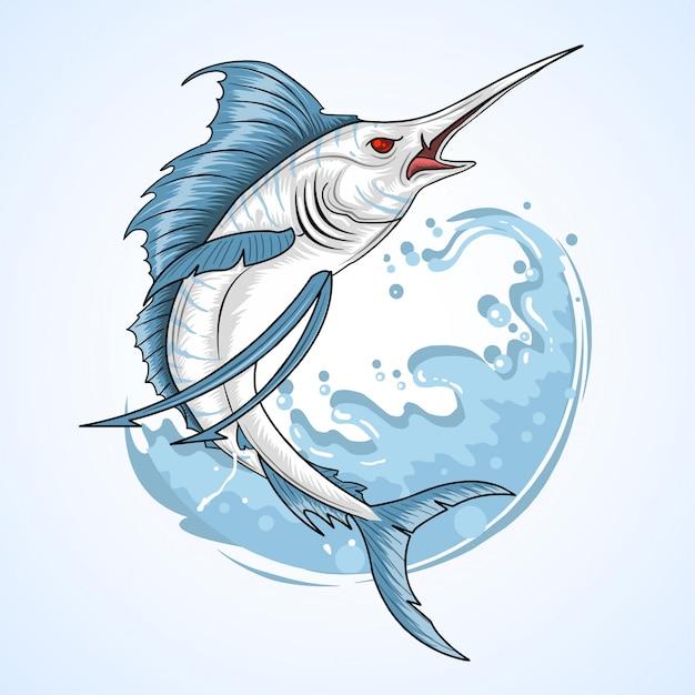 Angler fisherman marlin fish Premium Vector