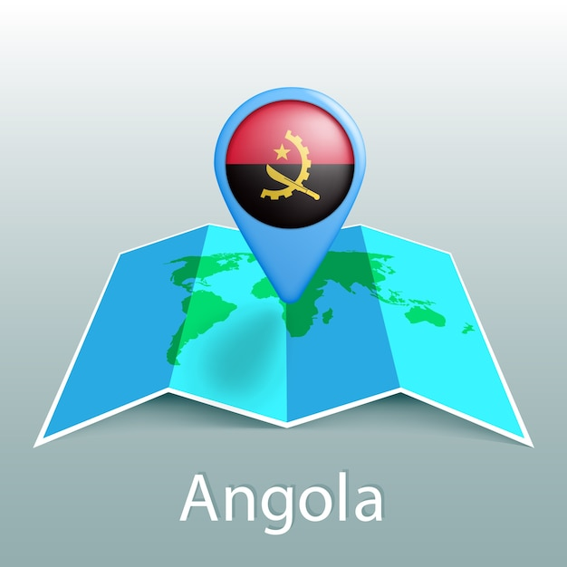 灰色の背景に国の名前とピンでアンゴラの旗の世界地図 Premiumベクター