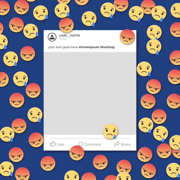 Angry and sad social media frame template\ notification