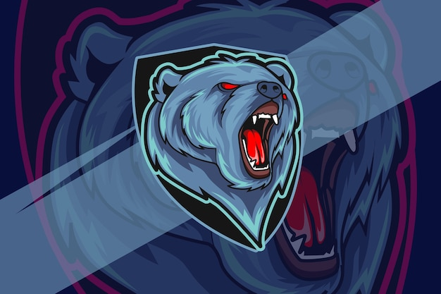 Злой медведь киберспорт и спортивный дизайн логотипа талисмана в современной концепции иллюстрации Premium векторы