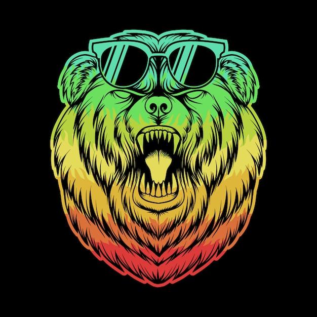 Злой медведь очки красочные иллюстрации Premium векторы