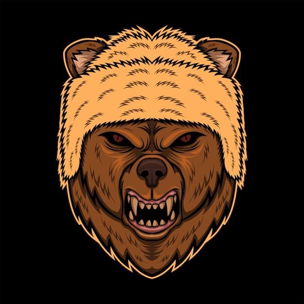 Angry bear head hat vector illustration Vector  b9e52fe5cd1a